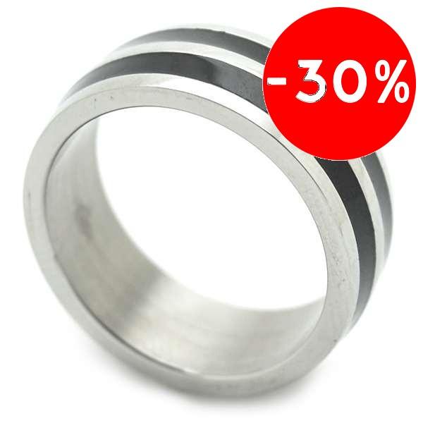 Joyas de acero quirurgico por mayor, anillos. Con dos franjas negras, de aprox 6 mm de ancho. Anill-Súper Ofertas-SOLO POR INTERNET-RA0720