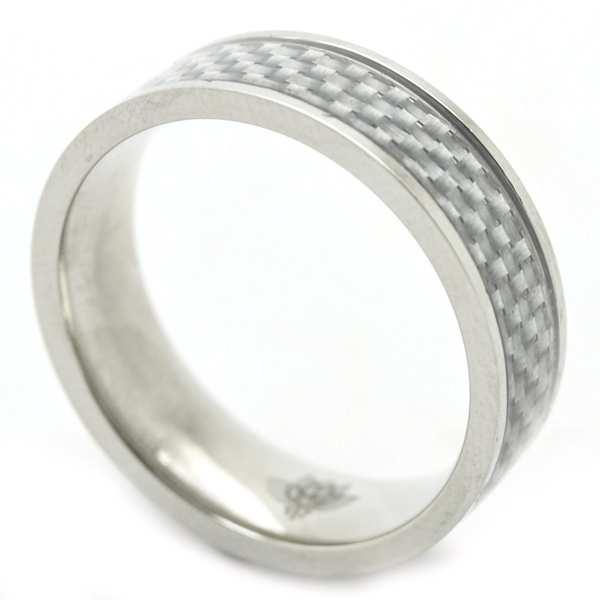 Joyas de acero quirurgico por mayor, anillos. Con aplicación simil fibra de carbono blanco, y de ap-Joyas de Acero-Anillos-RA0722