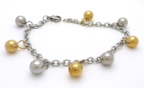 Joyas de acero quirurgico por mayor,Pulsera, Pulsera de cadena de 20 cms con cuatro pelotitas dorada-Joyas de Acero-Pulseras-BA0153