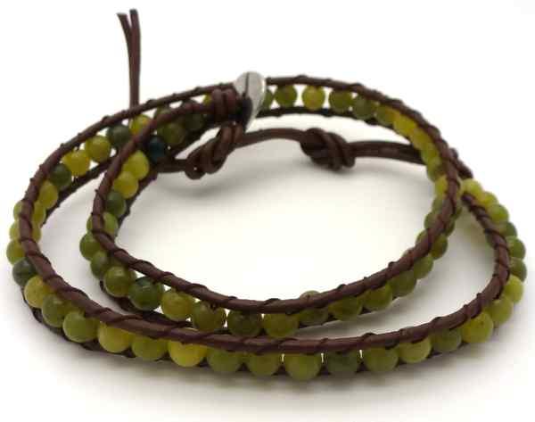 Joyas de acero quirurgico por mayor,Pulsera con piedras naturales, verdes redondos de 4mm y cuero ca-Joyas de Acero-Pulseras-BA0170