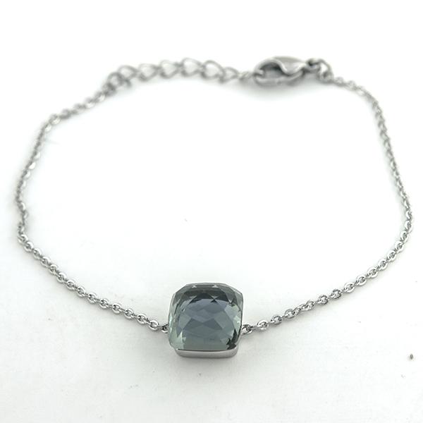 Joyas de acero quirúrgico por mayor,Pulseras, pulsera acero, cadena y un pequeño cristal facetado, l-Joyas de Acero-Pulseras-BA0204G