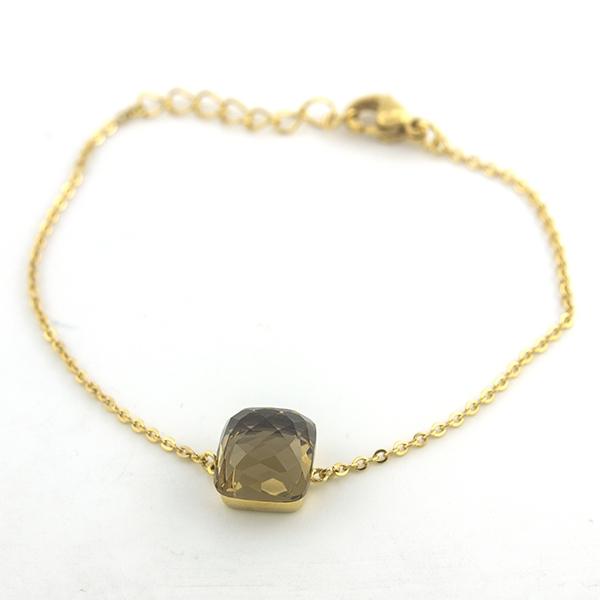 Joyas de acero quirúrgico por mayor,Pulseras, pulsera acero dorado, cadena y un pequeño cristal face-Joyas de Acero-Pulseras-BA0205
