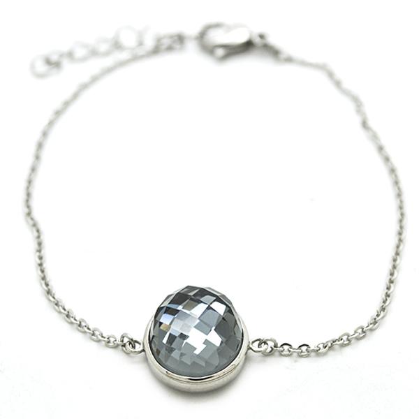 joyas de acero , pulsera de acero de 18cm mas cadena de alargue de 3cm, tiene en el centro un crista-Joyas de Acero-Pulseras-BA0206G