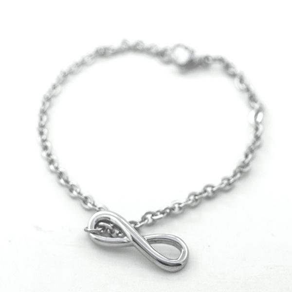 Joyas de acero quirúrgico por mayor, Pulseras, pulsera acero largo 18 cm y símbolo del infinito-Joyas de Acero-Pulseras-BA0216