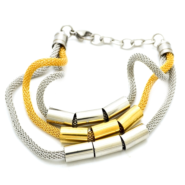 diseño vanguardista acero y esmalte dorado, largo 23 cm-Joyas de Acero-Pulseras-BA0221L