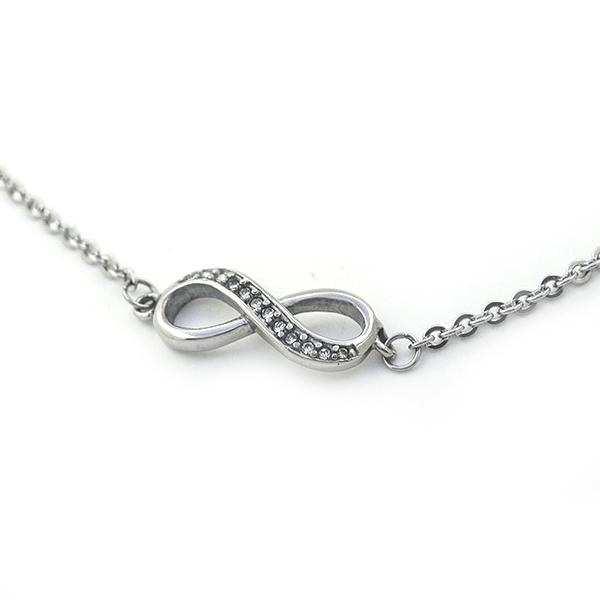 Joyas de acero quirúrgico por mayor,tobillera, pulsera de acero, símbolo del infinito con pequeños ci-Joyas de Acero-Pulseras-BA0223L
