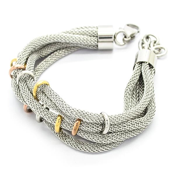 Joyas de acero quirúrgico por mayor,Pulseras, pulsera acero, cadenas unidas con pequeñas argollas co-Joyas de Acero-Pulseras-BA0225