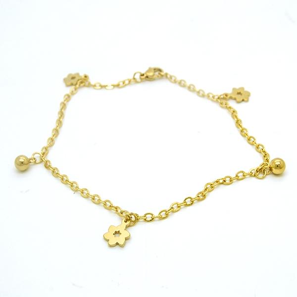 Joyas de acero quirúrgico por mayor,tobillera, fina cadena dorada con chiches en forma de flor, largo-Joyas de Acero-Pulseras-BA0227