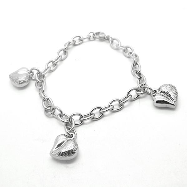 Joyas de acero quirúrgico por mayor,Pulseras, eslabón redondo y corazones con diseño, largo 19 cm-Joyas de Acero-Pulseras-BA0230