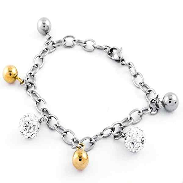 Joyas de acero quirúrgico por mayor, pulseras forma de cadena con pelotitas doradas y brillantes, l-Joyas de Acero-Pulseras-BA0248