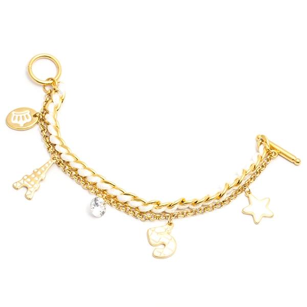 Joyas de acero quirúrgico por mayor,pulsera de acero de 17cm dorada ,con 5 delicados adornos-Joyas de Acero-Pulseras-BA0267L