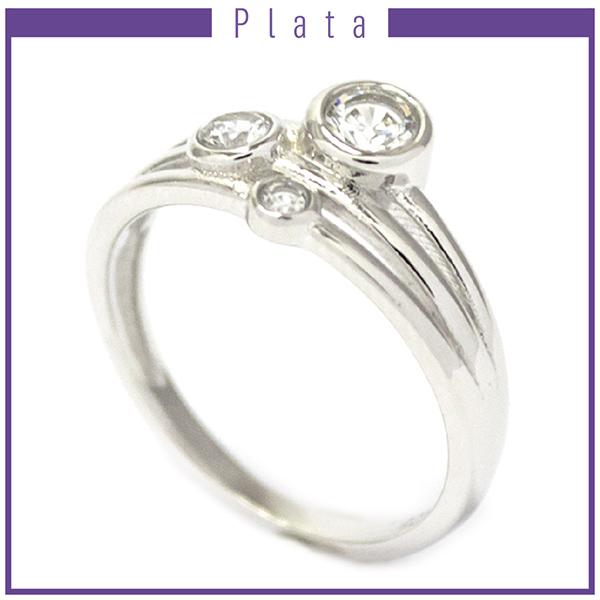 Anillos-Joyas de plata 925 por mayor ANILLO DE PLATA CON 3 CIRCONES BLANCOS-Joyas de Plata-Anillos-RP0005