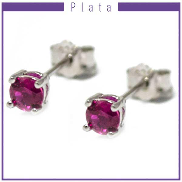 Aros-Joyas de plata 925 por mayor, aro de plata color rosado el tamaño del circón es de 0,4 cm  aprox -Joyas de Plata-Aros-EP0055R