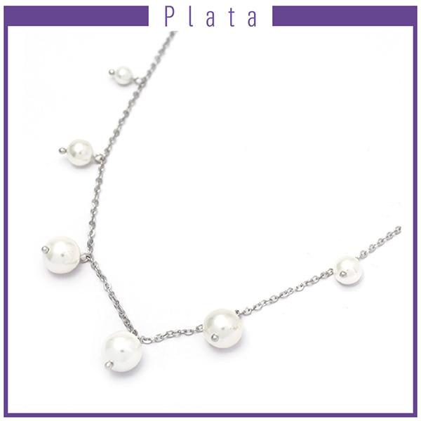 Collares-Joyas de plata 925 por mayor COLLAR DE PLATA CON 7 PERLAS DE RIÓ INTERCALADAS -Joyas de Plata-Collares-NP0001