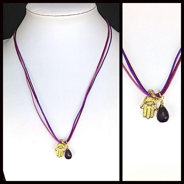 Collares-  Joyas Bañadas en oro Hechas a mano, 3 hilos macramé tonos morados con nudo deslizante de-Joyas Banadas-Collares-NE0154