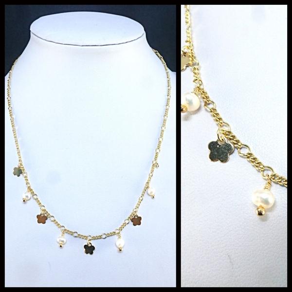 Collares-  Joyas Bañadas en oro Hechas a mano, cadena de largo 40 cms, con cadena de alargue de 4 cm-Joyas Banadas-Collares-NE0162