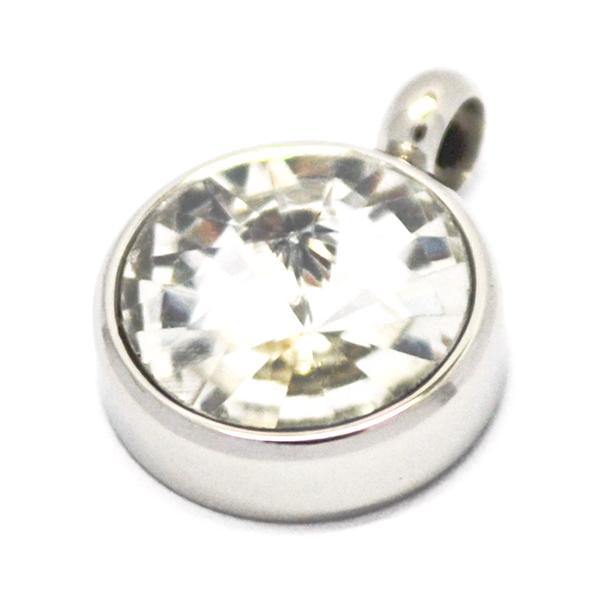 Colgantes-Joyas de ACERO por mayor, colgante de acero circular color blanco su tamaño es de 1,5 apro-Joyas de Acero-Colgantes-PA0361C