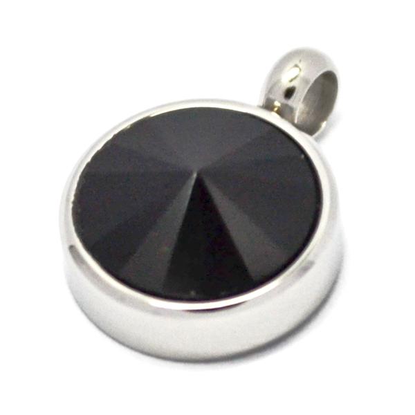 Colgantes-Joyas de ACERO por mayor, colgante de acero circular color negro su tamaño es de 1,5 aprox-Joyas de Acero-Colgantes-PA0361N