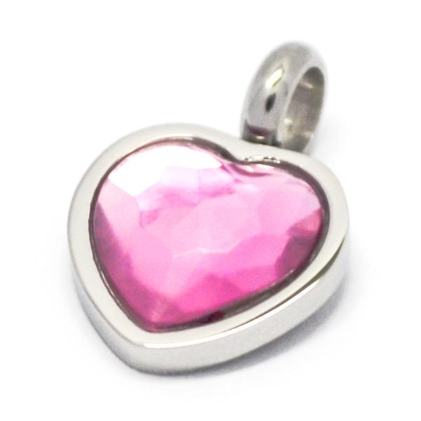 Colgantes-Joyas de ACERO por mayor, colgante de acero en forma de corazón rosado su tamaño es de 1,5 cm -Joyas de Acero-Colgantes-PA0363