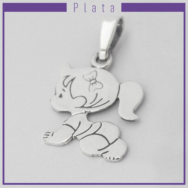 Colgantes-Joyas de Plata 925 por mayor , colgante de plata de niña gateando 3 cm aprox -Joyas de Plata-Colgantes-PP0011