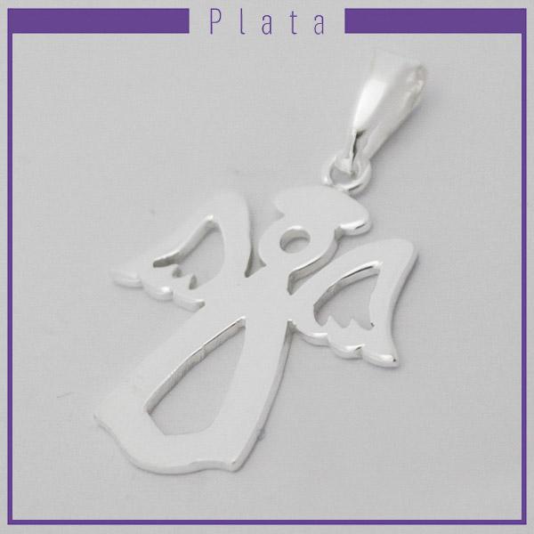 Colgantes-Joyas de Plata 925 por mayor , colgante de plata en forma de ángel calado este mide 3,5 cm aprox -Joyas de Plata-Colgantes-PP0016