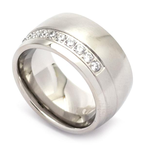 joyas de acero ,  anillo de acero con una delicada linea de circones blancos -Súper Ofertas-LIQUIDACIÓN -RA0142