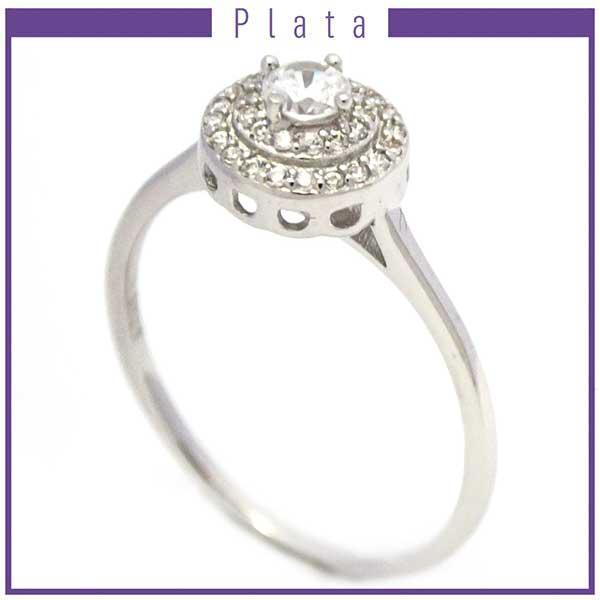 Anillos-Joyas de plata 925 por mayor Anillo de modelo clásico con circones-Joyas de Plata-Anillos-RP0008