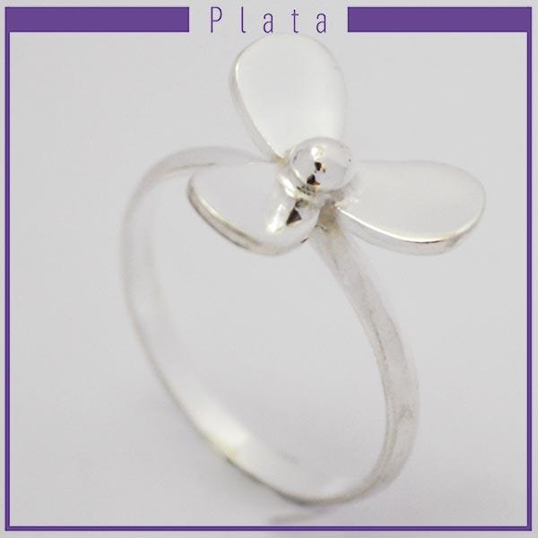 Joyas de Plata 925 por mayor ,anillo de plata con 3 pétalos -Joyas de Plata-Anillos-RP0023