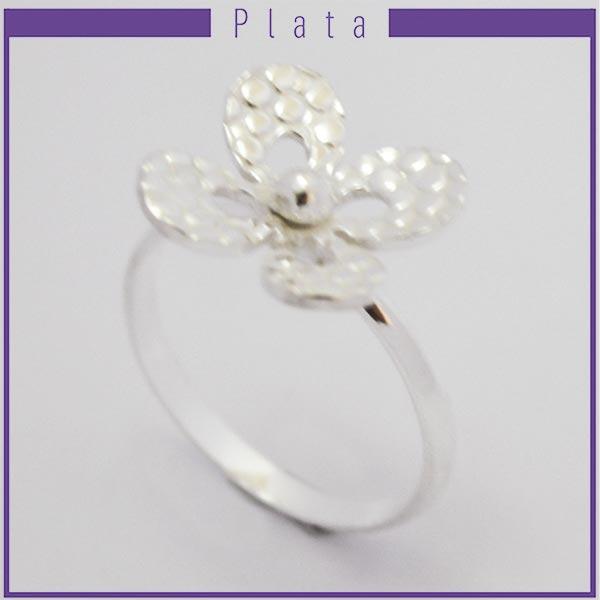 Joyas de Plata 925 por mayo, hermoso anillo de plata efecto machacado en forma de flor con 4 pétalos-Joyas de Plata-Anillos-RP0024