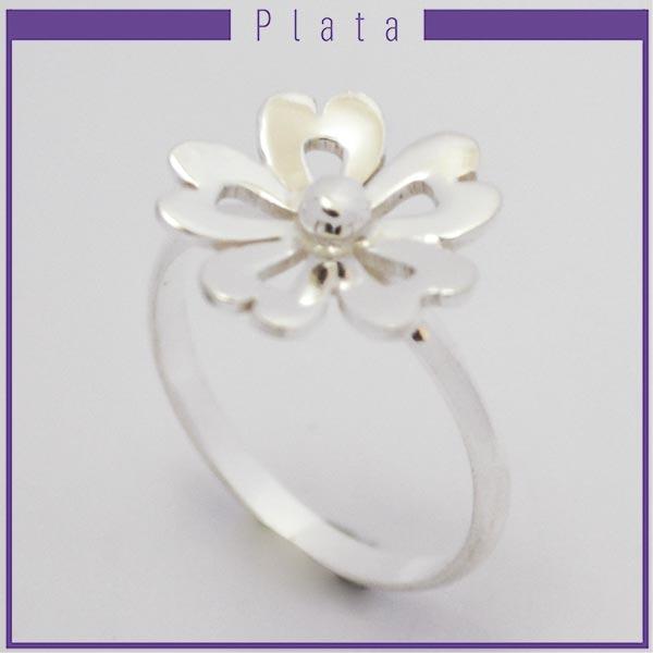 Joyas de Plata 925 por mayor , anillo de plata con 5 pétalos calados -Joyas de Plata-Anillos-RP0025