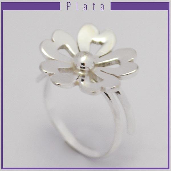 Joyas de Plata 925 por mayor , delicado  anillo midi, pensado para que lo uses en la falange en forma de flor con 5 pétalos calados -Joyas de Plata-Anillos-RP0025M