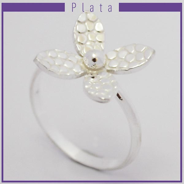 Joyas de Plata 925 por mayor , anillo de plata efecto machacado con 4 pétalos -Joyas de Plata-Anillos-RP0026