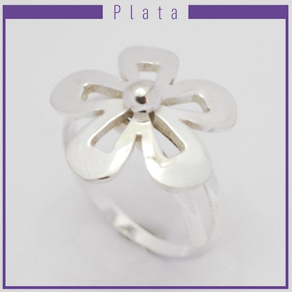 Joyas de Plata 925 por mayor , hermoso anillo de plata midi pensado para que lo uses en la falange adaptable con una flor con 5 pétalos calada   -Joyas de Plata-Anillos-RP0028M
