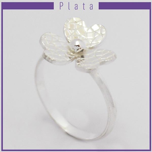 Joyas de Plata 925 por mayor , anillo de plata efecto machacado en forma de flor con 3 pétalos  -Joyas de Plata-Anillos-RP0029
