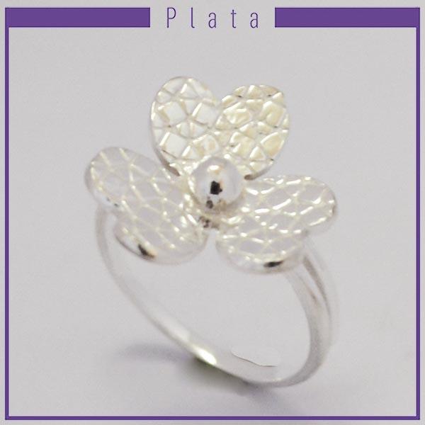 Joyas de Plata 925 por mayor ,delicado anillo de plata midi pensado para que lo uses en la falange es adaptable, efecto machacado en forma de flor con 3 pétalos  -Joyas de Plata-Anillos-RP0029M