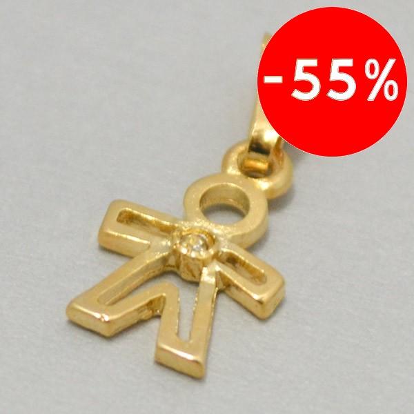 Joyas bañadas en oro por mayor, colgante enchape  de oro en forma de niño con un circón blanco en el centro su tamaño es de 2,5 aprox -Joyas Banadas-Colgantes-PE0003L