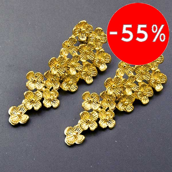 Joyas bañadas en oro por mayor, Aros. Aro forma de rasimo,Enchape oro 18K-Súper Ofertas-SOLO POR INTERNET-EE0010L