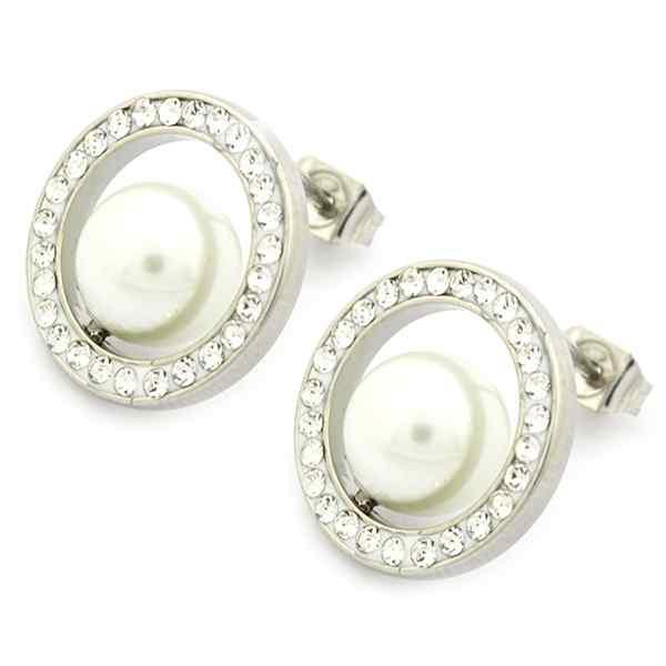 Joyas de acero quirúrgico por mayor, delicado y femenino diseño con perla y circones, diámetro 1 cm-Joyas de Acero-Aros-EA0929